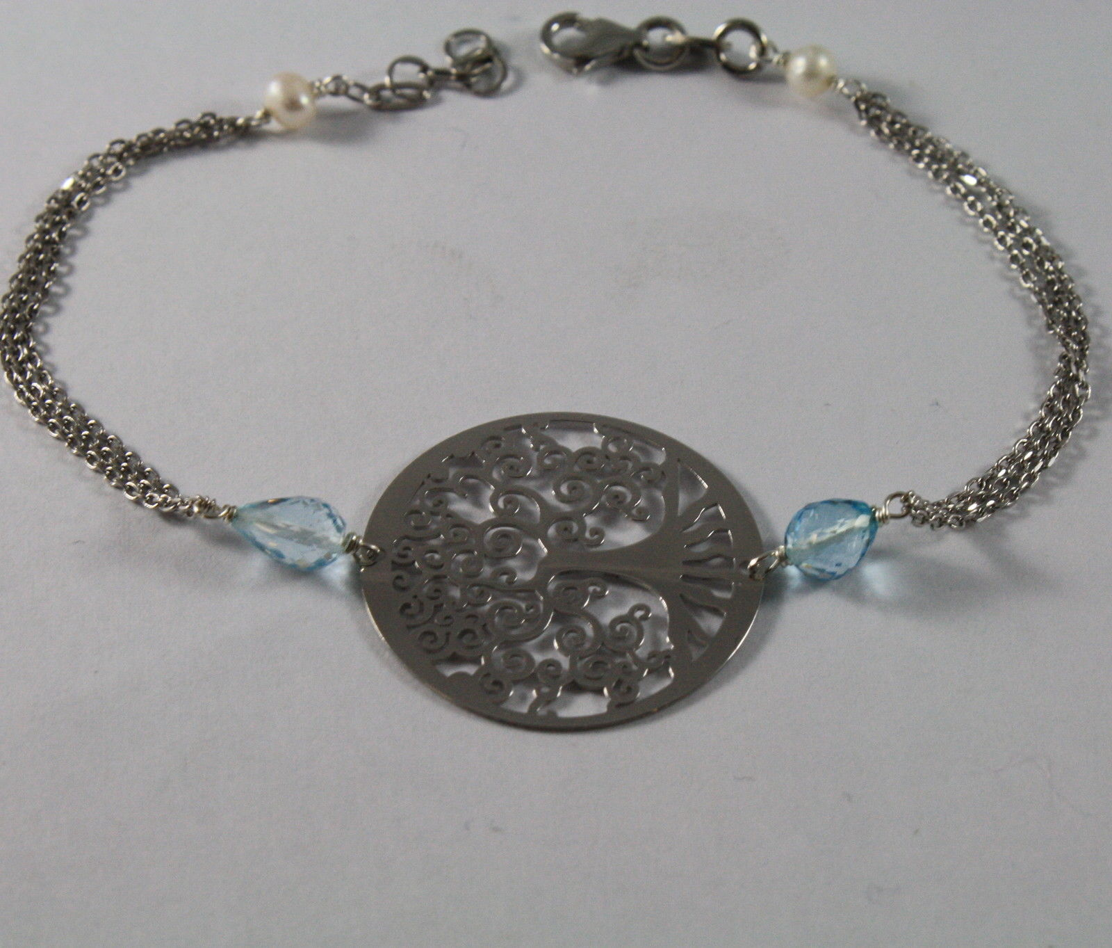 925 Silver Bangle with Blue Topaz, White Pearls and Tree of Life