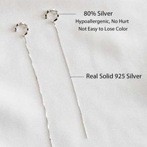 Genuine Real Pure Solid 925 Sterling Silver Long Dangle Tassel Earrings ... - $14.48