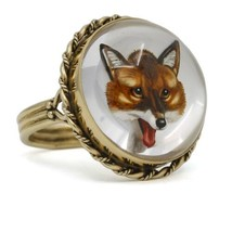 Antique Essex Crystal Fox Ring in 14k Yellow Gold - $1,940.40