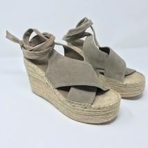 Marc Fisher Size 9.5 Andira Wedge Ankle Tie Espadrille Platform Suede Cream Jute - $76.36