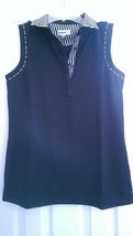 NWT Ladies Chase 54 Black & Pearl Sleeveless Golf Shirt Top size M Long DRYFUZE - $34.99