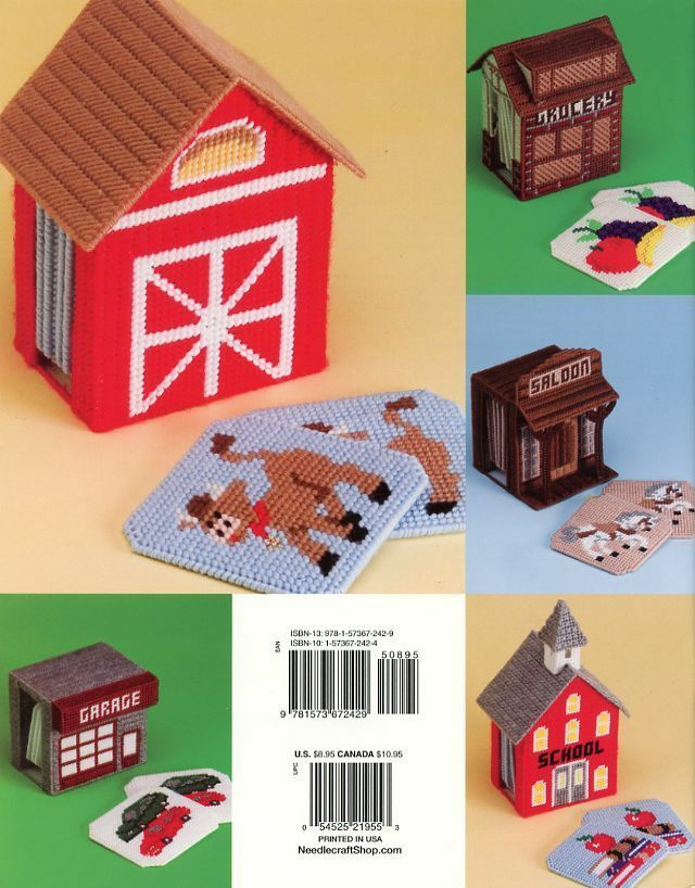 Village Coasters TNS Plastic Canvas Pattern/Instructions Booklet NEW image 2