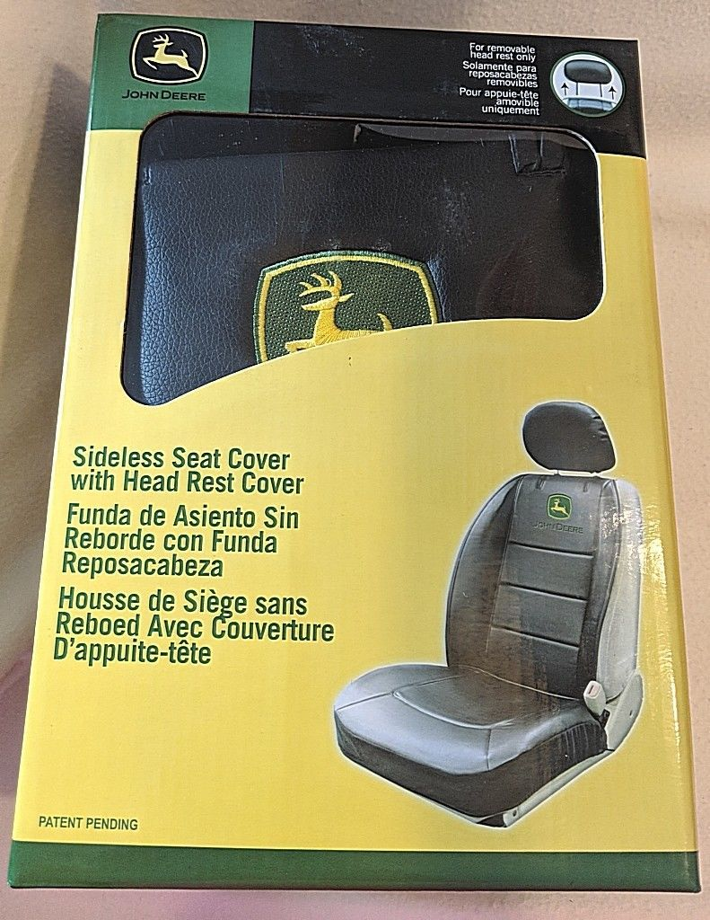 John Deere LP49603 Polyvinyl Black Sideless Seat Cover With Head Rest Cover