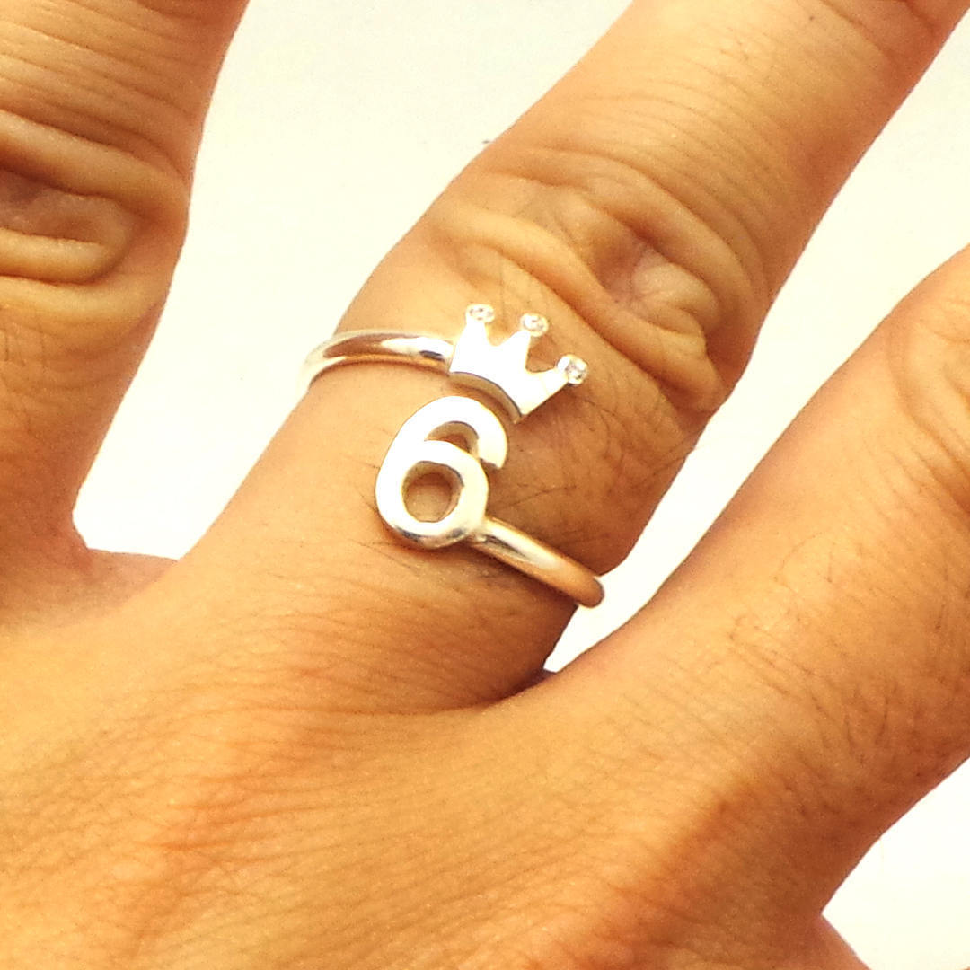 Silver Personalized Number Crown Ring