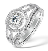 Round Cut White CZ 14k White Gold Fn 925 Silver Engagement & Wedding Ring Set - $85.99