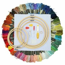 100 Colors Cross Stitch Cotton Embroidery Thread Sewing Skein Hoop Kit T... - $38.99