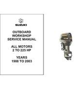 1988-2003 Suzuki ALL 2-Stroke Outboard MOTORS ( 2 - 225 hp ) Service Manual CD - $12.99