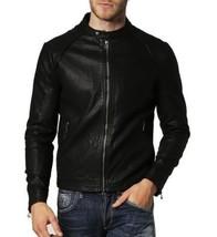 Men Skinny Black Leather Biker Jacket Coat For Men - $150.00