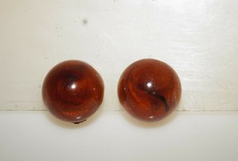 """Vintage Amber Brown Lucite Thermoset Button Gold Tone Clip on Earrings 7/8"""" - $13.00"""