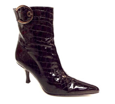 STUART WEITZMAN Black Size 6 'Buckleboot' Patent Alligator Print Boots - $61.20