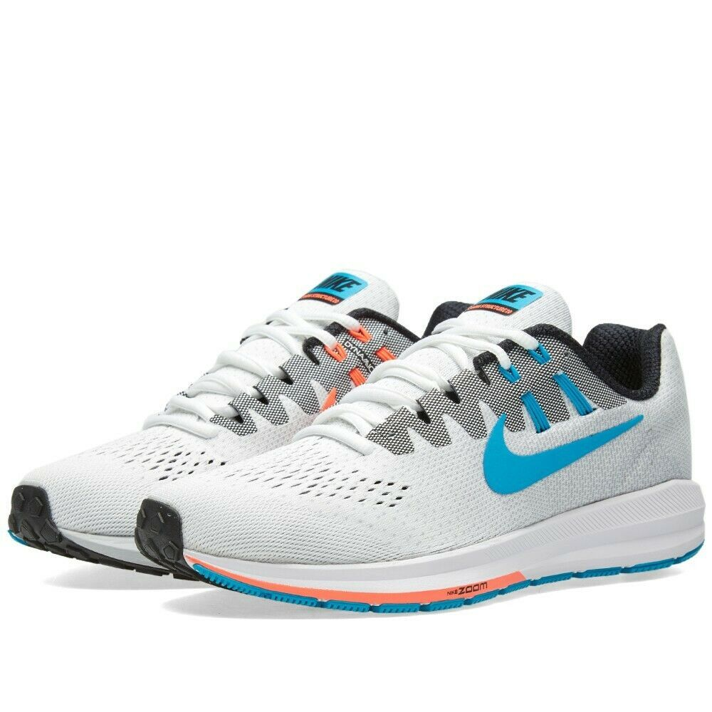 online store 21d17 16600 HOMME Nike Air Zoom Structure 20 Anniversaire Chaussures Blanches Bleu Noir