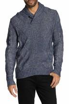 Weatherproof ,Ottoman Stitch Henley Sweater, Indigo Blue,Sz  L - $49.47
