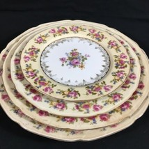 Gold Castle Hostess Pattern 4 Plate Place Setting Dinner Lunch Salad Bre... - $28.17