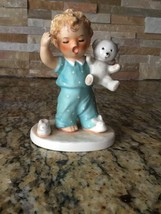 Vintage GOEBEL SLEEPYHEAD Figurine BABY BOY CRYING In PAJAMAS With TEDDY... - $11.30