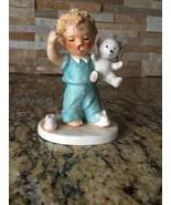 Vintage GOEBEL SLEEPYHEAD Figurine BABY BOY CRYING In PAJAMAS With TEDDY... - $11.30