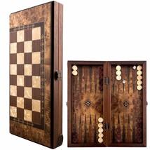 Backgammon ROYAL Set Mosaic & Carved Design - Foldable Boxwood Chess Board - $197.01