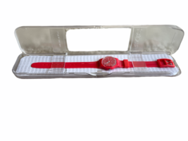 NOS SWATCH Women Red Pretty Sexy Red Dial Red Silicone Ladies Watch LR127 Case image 2