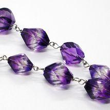 Collier Argent 925, Fluorite à Facettes Violet, Cœur avec Fleurs, 70 CM image 4