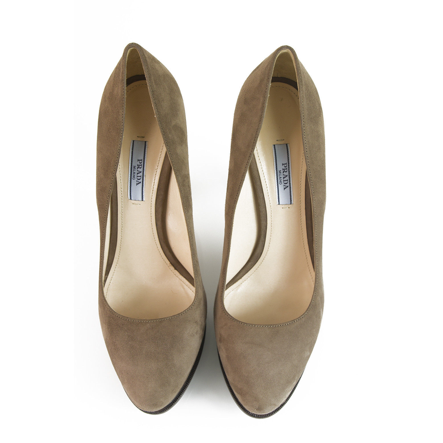 Prada Taupe Brown Suede Leather Classic Pumps Round Toe Slim Heel Platform sz 40 image 2