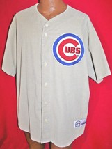 Vintage 90s CHICAGO CUBS Beige Corduroy MAJESTIC Baseball JERSEY 2XL Rar... - $199.99