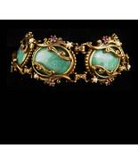 Vintage GOTHIC Bracelet -art nouveau slag Big Bracelet Purple rhinestone... - $195.00