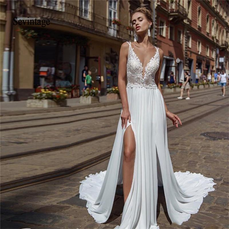 chiffon boho wedding dresses spaghetti straps lace appliques bridal gown beaded backless formal