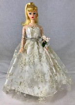 Barbie Doll 1960s Replica Bride in Lacy Wedding Dress Bouquet Pearls 1997 - $33.85