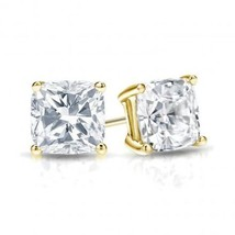 1.75Ct Cushion Cut 14K Yellow Gold Brilliant Screw Back Stud Earrings - $127.70