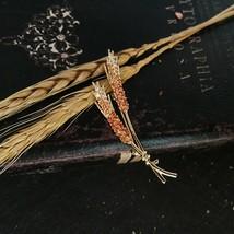 sey Vintage Plant Flower Leaf Ear Of Wheat Cubic Zirconia Brass Round Br... - $24.34