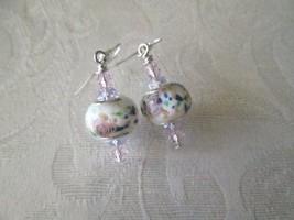 Flower Motif Lamp Work Glass Bead & Light Pink Crystal Silver Tone Earrings - $6.18
