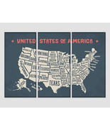 Vintage Map of USA Map Wall Art Push Pin Travel United States Map Wall D... - $49.00