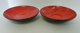 Asian Dining Oriental Black Writing Script Red Pasta Serving Vegetable B... - $19.79