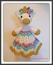 CROCHET PATTERN - Unicorn Lovey, crochet toy, baby toy, baby blanket, ba... - $4.99