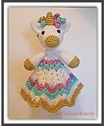 CROCHET PATTERN - Unicorn Lovey, crochet toy, baby toy, baby blanket, ba... - $4.99