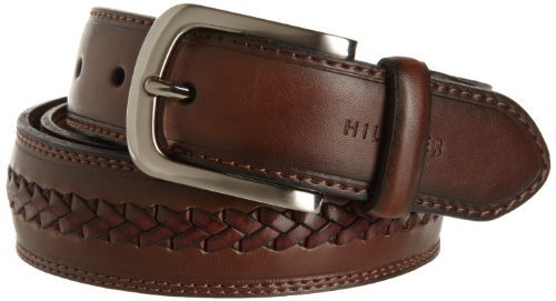 Tommy Hilfiger Men's Double stitched canvas belt,Brown,44