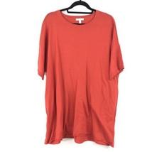 Eileen Fisher Damen Größe XL Kurzärmlig Pullover Tunika Rot Orange Roh Saum Neu - $53.64