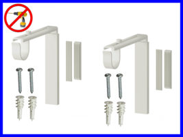 2 NEW WHITE Color Wall Curtain Bracket Rod Holder Set- No Drill Needed - $17.63