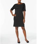 New $45 Karen Scott Sport Black Dot-Print Shift Summer Casual Dress Sz P... - $38.69