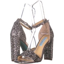 Betsey Johnson Rina Ankle Strap Sandals 454, Silver, 6 US - $29.75