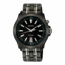 NEW Seiko SNQ121 Perpetual Black Dial Stainless Steel Men's Watch S8 - $150.00