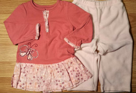 Girl's Size 12 M Two Piece Carter's Pink L/S Butterfly Dress & Fleece Pa... - $17.50
