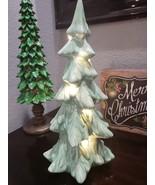 "STUNNING! Coastal Ceramic Aqua Iridescent Lighted Christmas Tree Decor 14"" - $33.99"