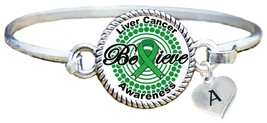Custom Liver Cancer Awareness Believe Silver Bracelet Jewelry Choose Ini... - $13.80+
