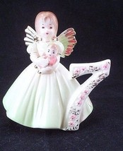 Cute Vintage Josef Originals Age 7 Birthday Girl Angel Lime Green Gown Figurine - $13.32