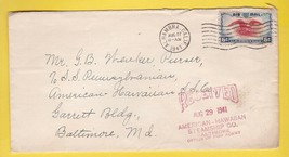 AMERICAN HAWAIIAN STEAMSHIP CO RECEIVED 8/29/1941 BALTIMORE OFFICE OF PI... - $1.98