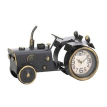 Tractor Desk Clock Vintage Design Large Clock Face Distressed Brass Finish - $37.45