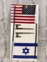 Collectable United States Israel Flag Set New Stake - $7.70