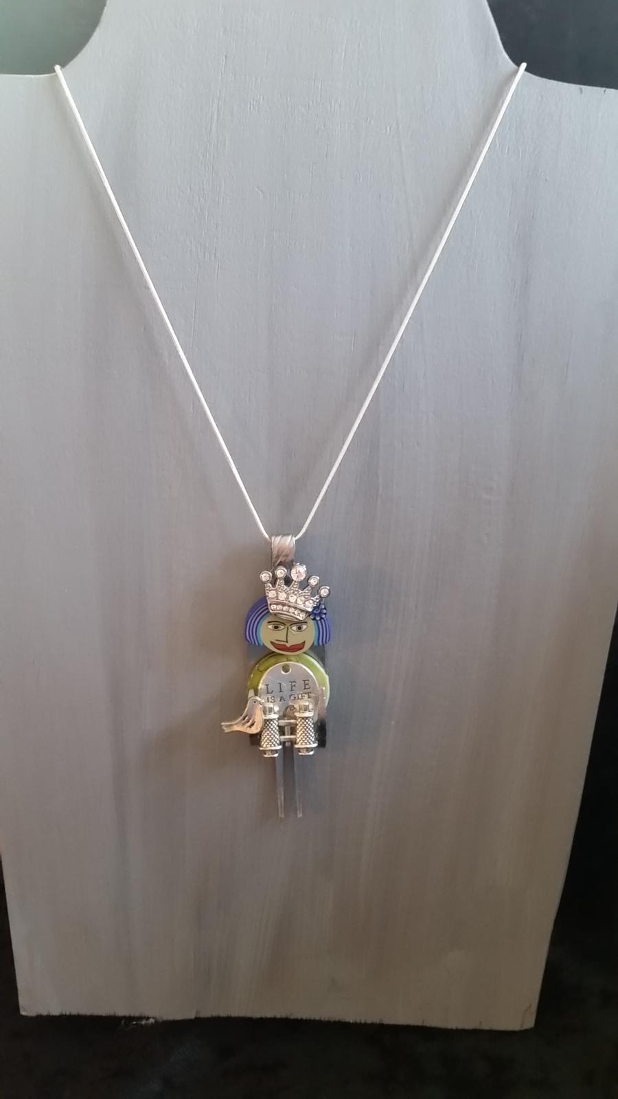Queen of  bird watching necklace pendant