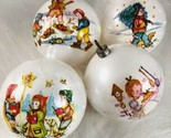 4 Vintage Plastic 1975 Bradford Novelty Christmas Ball Ornaments Children Scene