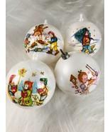 4 Vintage Plastic 1975 Bradford Novelty Christmas Ball Ornaments Children Scene - €8,14 EUR